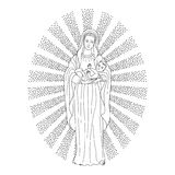Virgin Mary holding baby Jesus. Saint virgin Mary holding baby Jesus Christ. Christmas vector pattern, textile print, coloring page Royalty Free Illustration