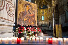 Virgin Mary icon inside Monreale cathedral at Sicily. Inside Monreale cathedral or Duomo di Monreale, virgin Mary icon and Christ Pantocrator fresco in Stock Photo
