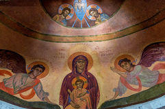 Virgin Mary. Inside Agia Foteini which is an old church which was built in Tripoli since 1972 Stock Photo