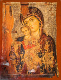 Virgin Mary and Jesus. Iconography painted icons with saints on monastery wall ? Preobrajenski Monastery near Veliko Turnovo Bulgaria (built in 14th century Stock Photo