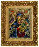 Virgin Mary and Jesus. Antique icon of a Mother of God (Mary) and child (Jesus Christ) with Angels Royalty Free Stock Images