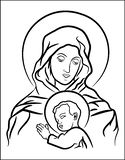 Virgin Mary with Jesus. Black and white illustration of the Virgin Mary with baby Jesus Stock Illustration