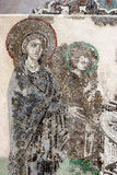 Virgin Mary, Jesus Christ . Byzantine mosaic art. Stock Photos
