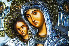 Virgin Mary and Jesus. Closeup of an ornate religious icon of Virgin Mary and baby Jesus stock images