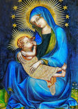 Virgin Mary and Jesus. Closeup of an ornate religious icon of Virgin Mary and baby Jesus Stock Photos