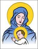Virgin Mary with Jesus. Color illustration of the Virgin Mary with baby Jesus Royalty Free Illustration