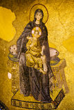 Virgin Mary and Jesus Mosaic. Byzantine mosaic of Virgin Mary and Jesus Christ in the Hagia Sofia, Istanbul, Turkey Royalty Free Stock Photos