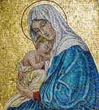 Virgin Mary and Jesus. Mosaic of Virgin Mary with Child Jesus Stock Photo