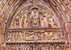 Virgin Mary Jesus Statues Notre Dame Paris France Stock Photos