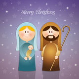 Virgin Mary and Joseph in Christmas. Illustration of Virgin Mary and Joseph in Christmas Vector Illustration