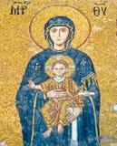 Virgin Mary mosaic at Hagia Sophia stock photo