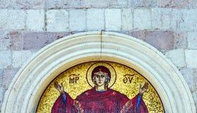 Virgin Mary - mosaic icon in Orthodox Christian church in Budva, Royalty Free Stock Photo