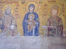 Virgin Mary mosaic inside the Aya Sophia. Istanbul, Turkey - sept 3, 2011: Virgin Mary mosaic inside the Aya Sophia in Istanbul, Turkey. Hagia Sophia was an Stock Photos