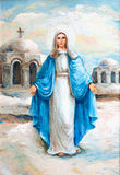 Virgin Mary Oil Painting. Appearance Virgin Mary upon the church dome oil painting Stock Photos