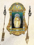 Virgin Mary painted on azulejos in Sevilla Royalty Free Stock Images
