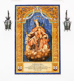 Virgin Mary painted on azulejos of Sevilla, Spain Royalty Free Stock Photos
