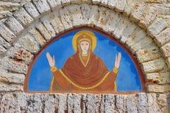 Landmark attraction in Bulgaria. Virgin Mary - Stella Maris Chapel from Balchik Palace Royalty Free Stock Photo