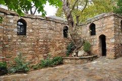 Virgin Mary's Cottage, Kusadasi, Turkey. The cottage on a mountain top (Mt Koressos or Nightingale Mountain) is where Virgin Mary lived after the Crucifixion Royalty Free Stock Photos