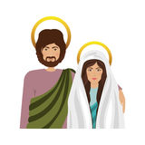 Virgin mary and saint joseph. Icon over white background. religious symbol. colorful design. vector illustration Royalty Free Illustration