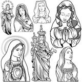 Virgin Mary Set. Black and White Outlined Illustrations, Vector Stock Photo