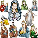 Virgin Mary Set Royalty Free Stock Photos