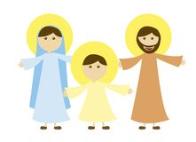 Virgin mary and st. joseph with jesus. Isolated. vector Vector Illustration