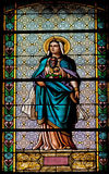 Virgin Mary, on stained glass Stock Images