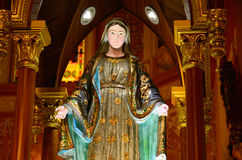 Virgin Mary statue decorated by ruby Royalty Free Stock Photos