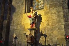 Virgin mary statue in golden light Royalty Free Stock Photos