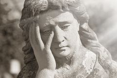 Virgin Mary Statue. Vintage Sculpture Of Sad Woman In Grief Rel Royalty Free Stock Image