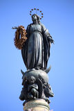 Virgin Mary on top at Piazza di Spagna in Rome, Italy Stock Photo