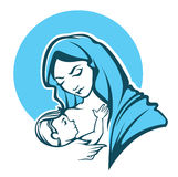 Virgin Mary. Vector illustration of virgin Mary and her baby Royalty Free Stock Photo