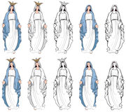 Virgin Mary. Vector illustrations of the Virgin Mary, Mother of God Royalty Free Stock Photo