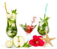 Virgin Mojito summer set with apple? lime and stra Stock Image