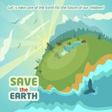 Virgin nature landscape eco poster. Virgin nature landscape. Save the Earth eco poster Stock Photos