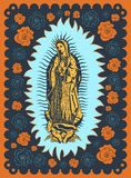 Virgin Of Guadalupe Vintage Silk Screen Style Poster Illustration Stock Images