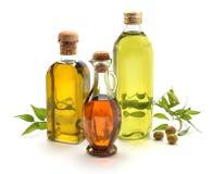 Virgin olive. Oil bottles on white Royalty Free Stock Photo