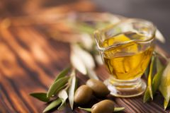 Virgin olive oil with fresh berries Stock Photography