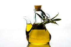 Virgin olive oil jar isolated Royalty Free Stock Photos