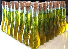 Virgin Olive Oil. With rosemary sprig stock photography