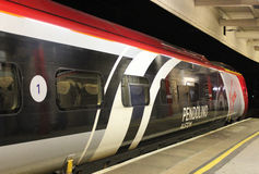 Virgin Pendolino in special livery at Lancaster Stock Photos