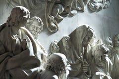 Virgin pillar. Christian religious sculptural details in virgin pillar zaragoza Stock Photos