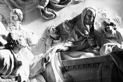 Virgin pillar. Christian religious sculptural details in virgin pillar zaragoza Royalty Free Stock Photos