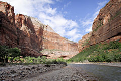 Virgin River at Big Bend, Zion NP Stock Photos