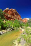 Virgin River at Zion Lodge, Zion National Park, Utah. The Virgin River creates a green oasis of cottonwood groves along its course in the Zion Canyon flanked by Royalty Free Stock Image
