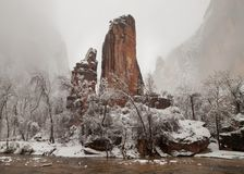 The Virgin river flows past stone pillars in the Temple of Sinawava in Zion National park on a cold snowy winter day stock images
