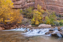 Virgin River Scenic in Autumn Stock Photography