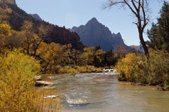 Virgin River and The Watchman in Zion National Park Royalty Free Stock Photography