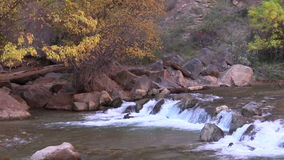 Virgin River Waterfall Zoom Out Zion National Park stock video footage