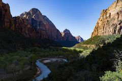 Virgin River in Zion National Park. The Virgin River that cut out the canyon that is Zion National Park in Utah stock image